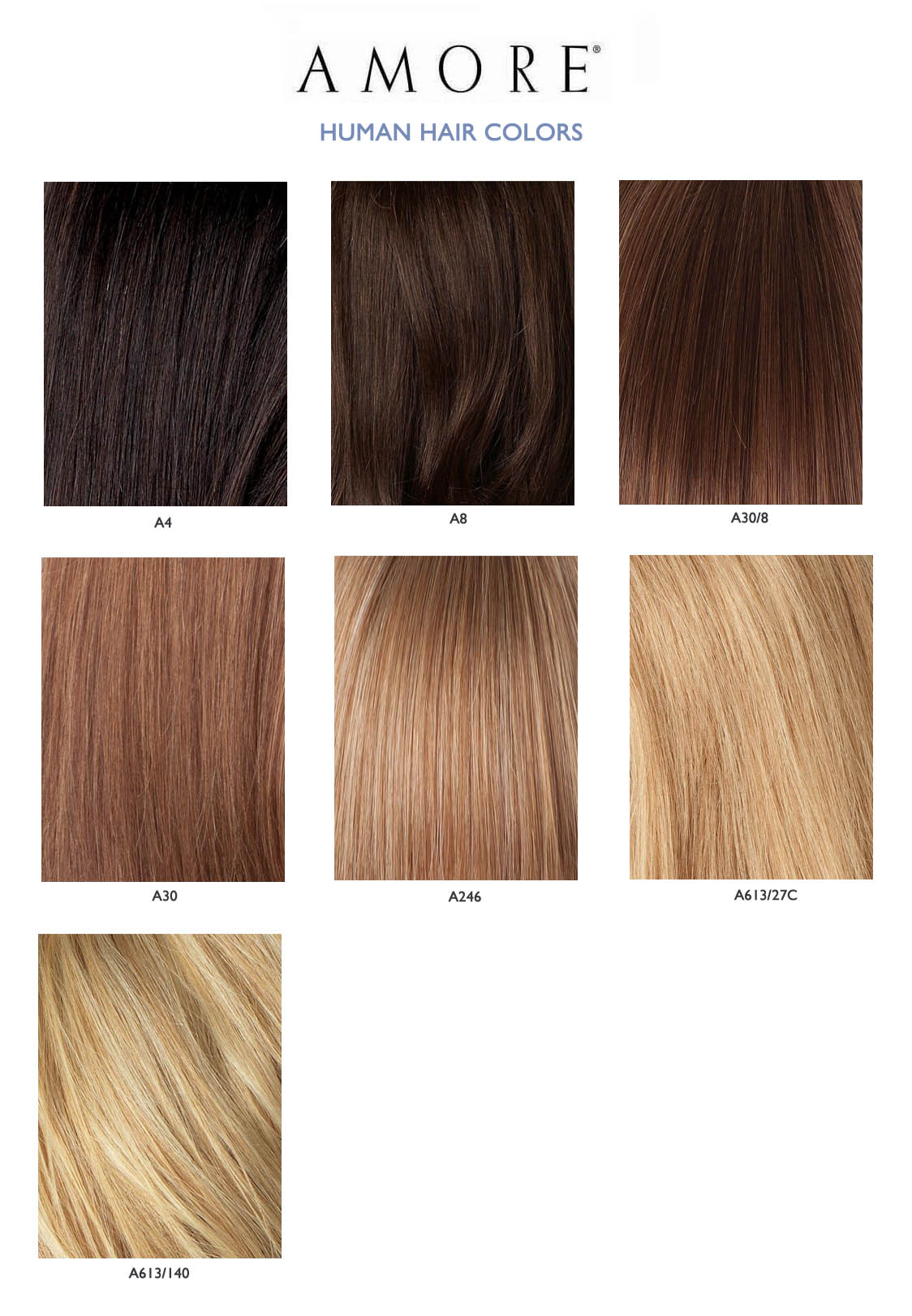 AMORE HUMAN HAIR COLORS