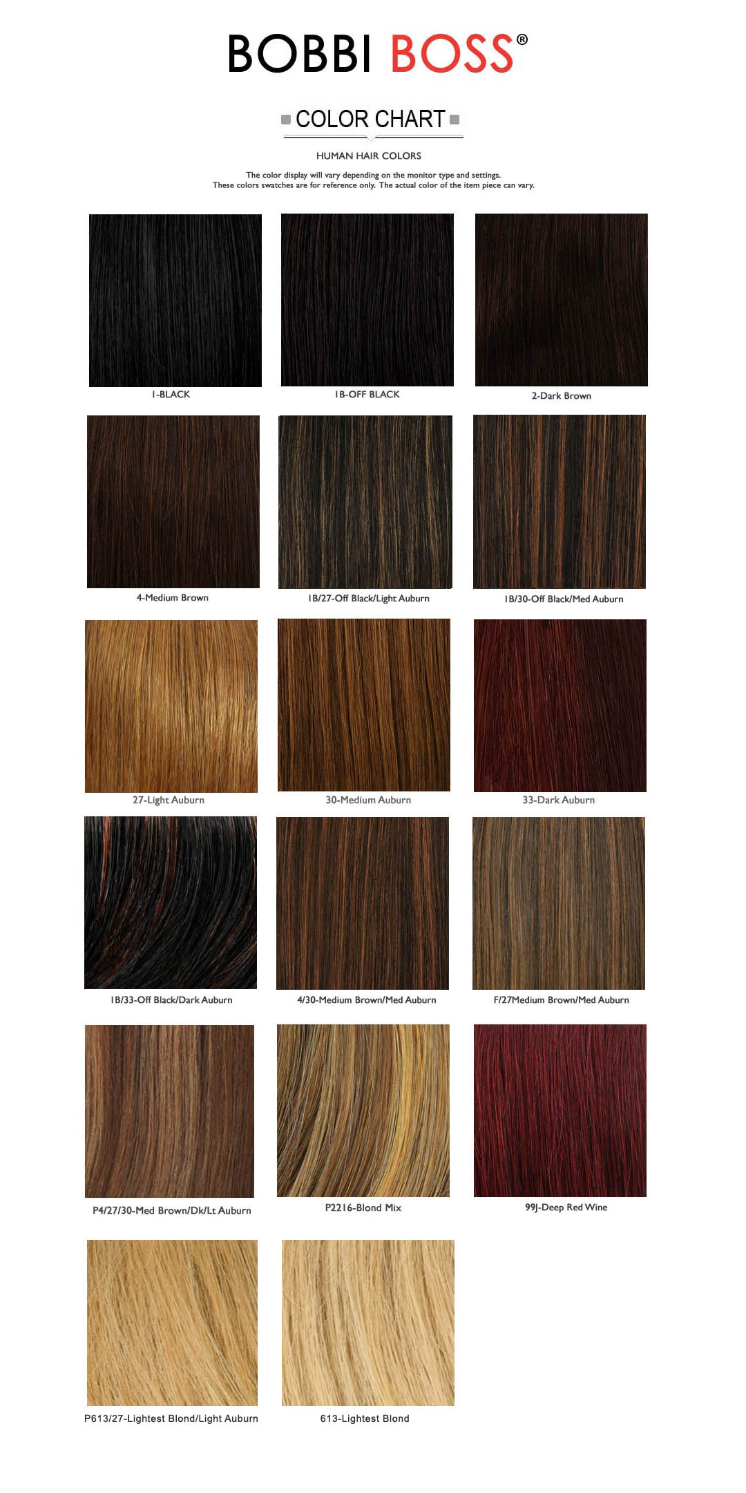 bobbi boss hair color chart