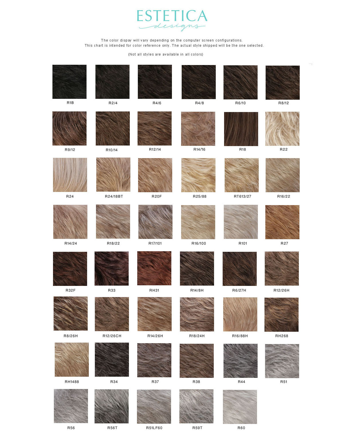 ESTETICA HAIR COLOR CHART