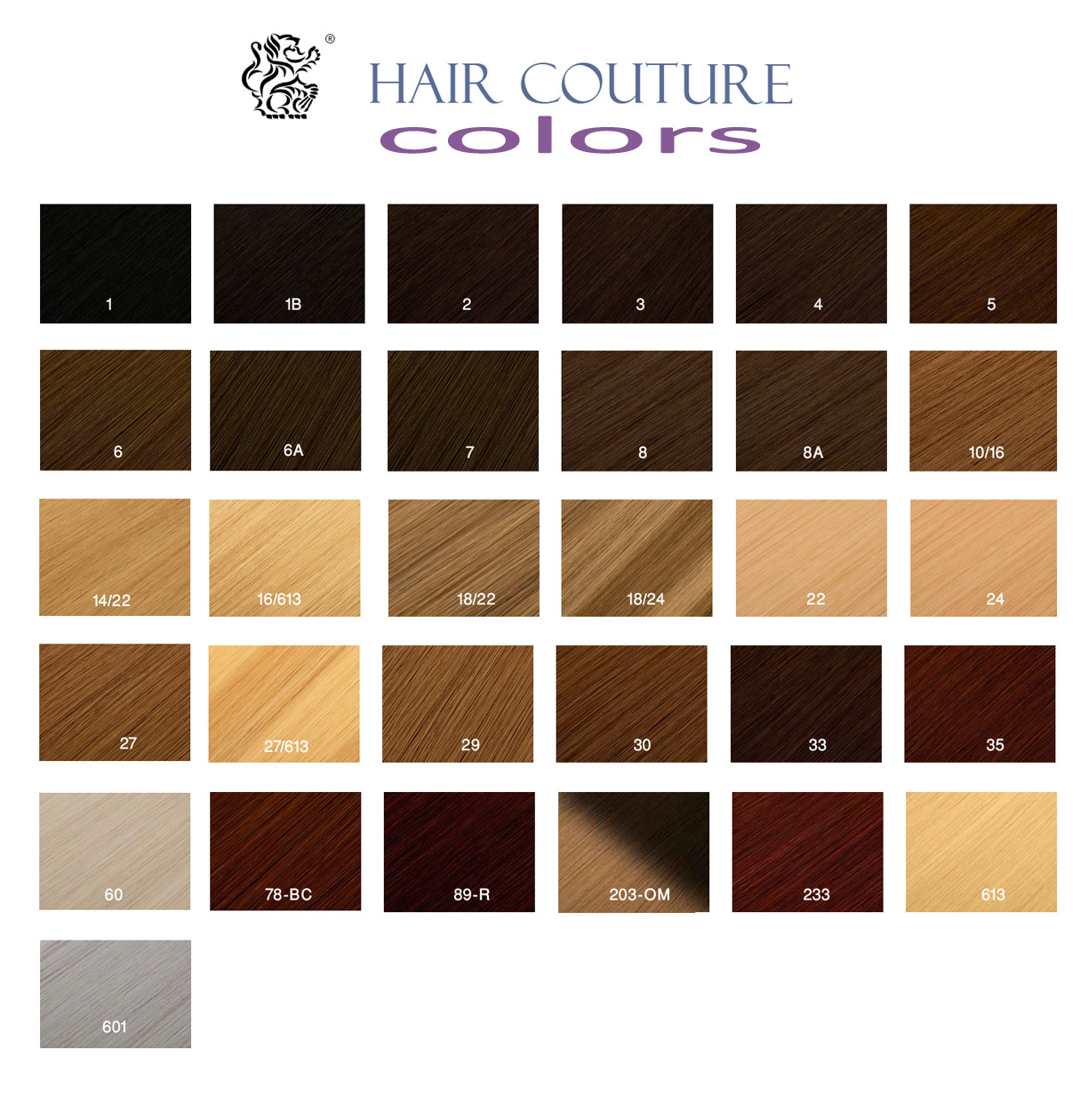 HAIR COUTURE COLOR CHART