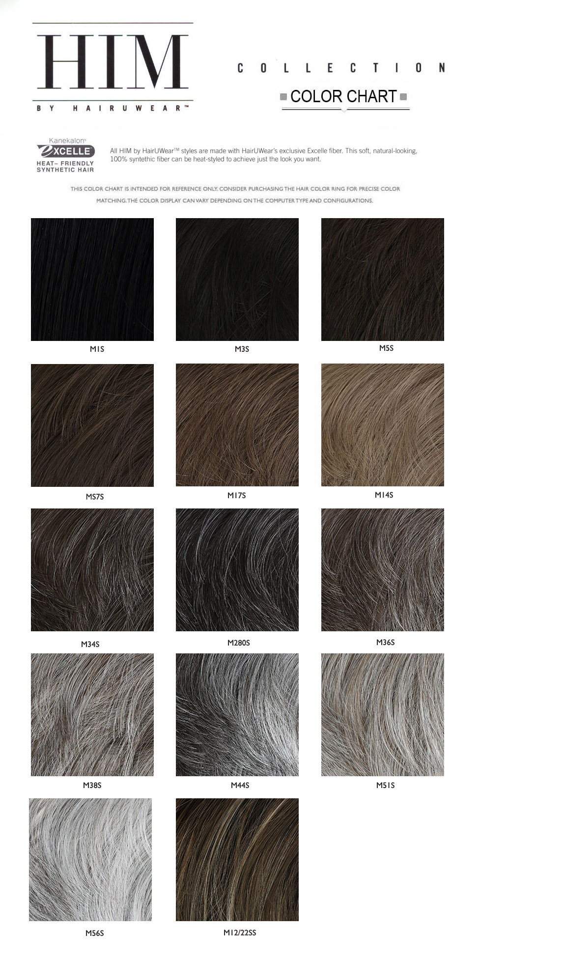 HIM  HAIR COLOR CHART