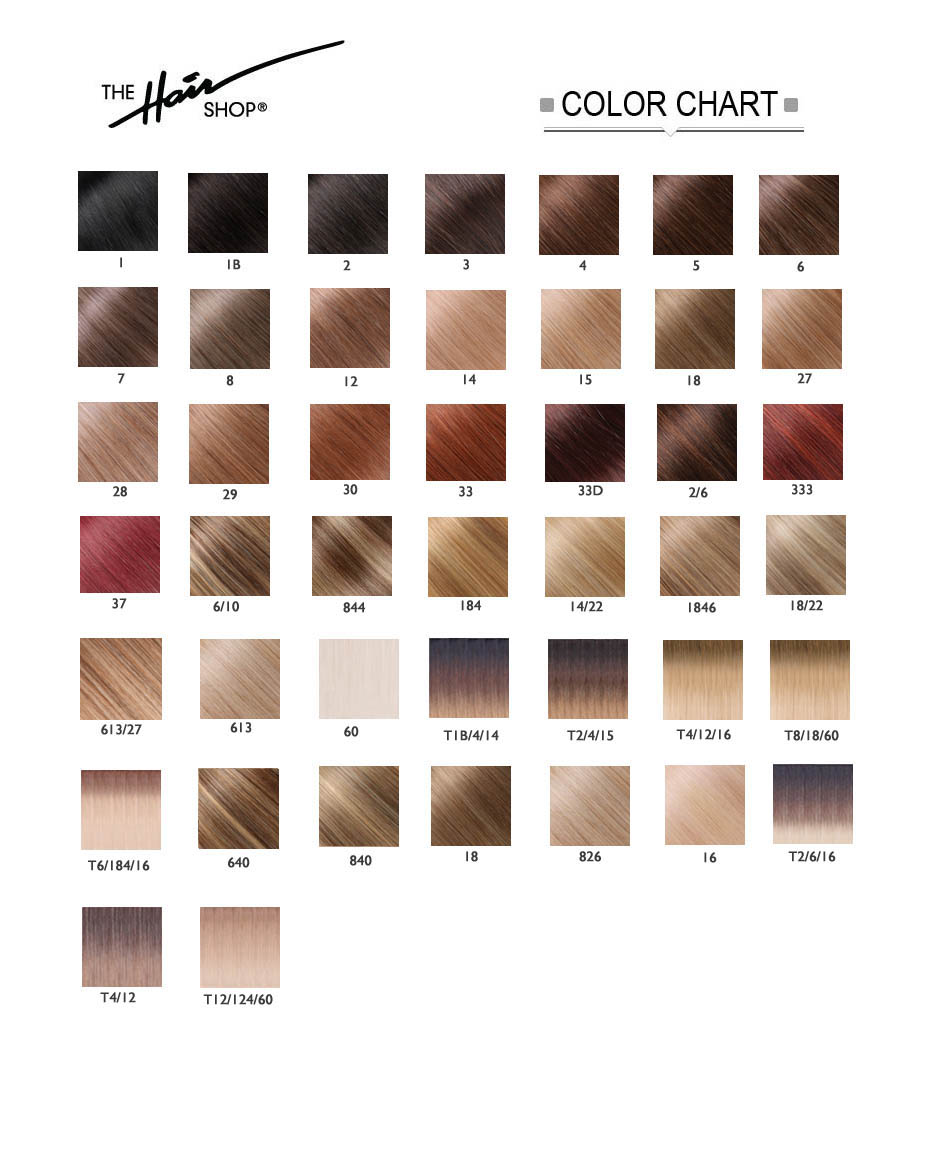 THE HAIR SHOP COLOR CHART