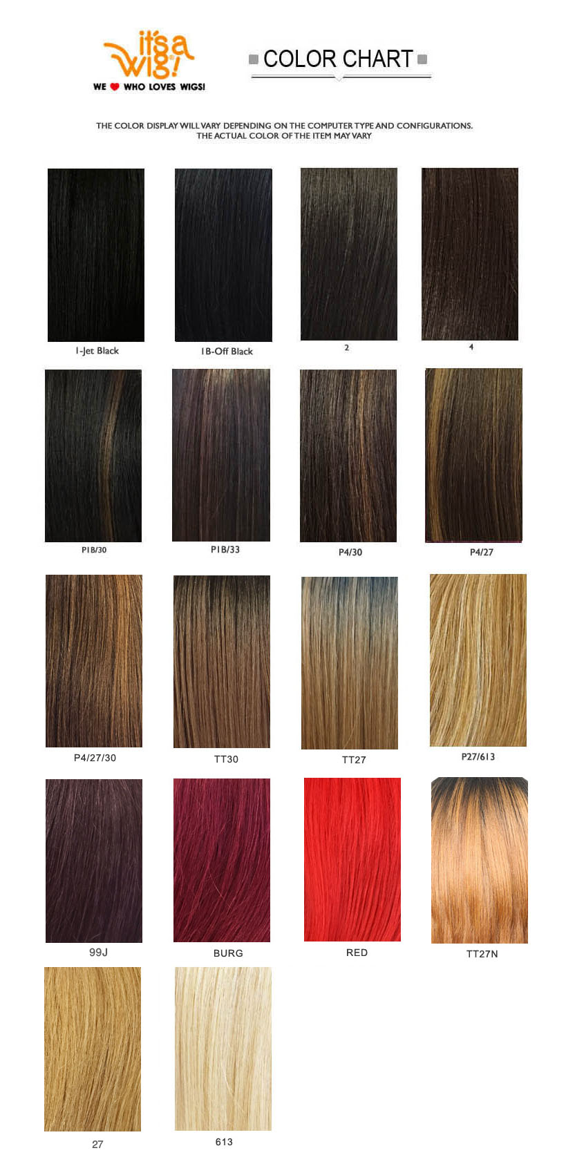 IT'S A WIG HAIR COLOR CHART