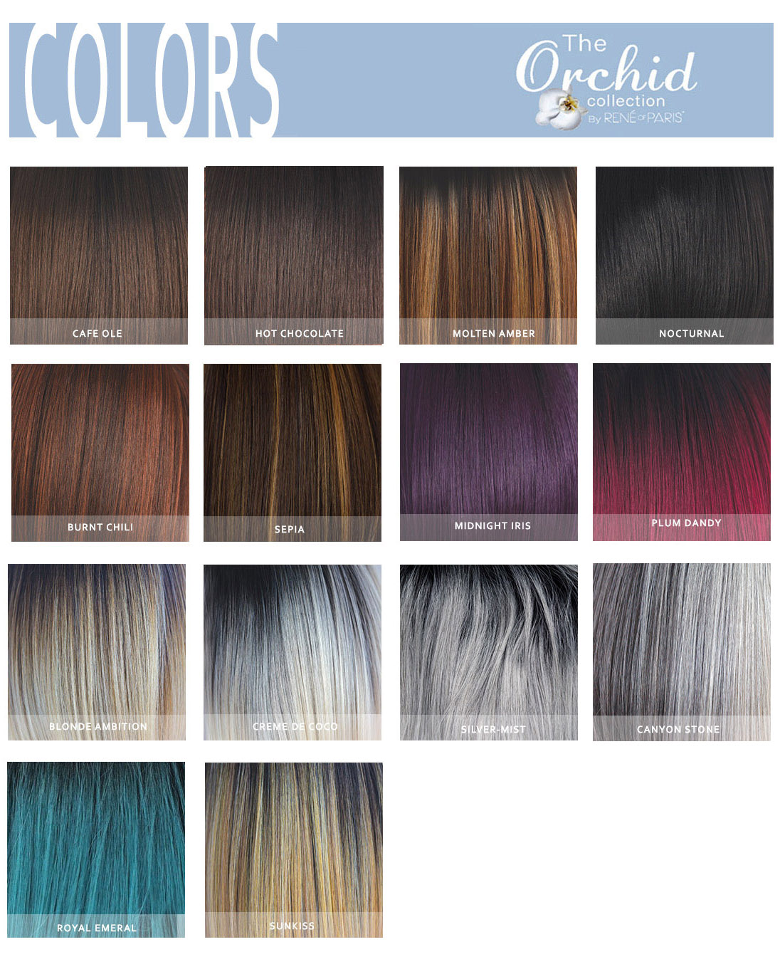 ORCHILD HAIR COLOR CHART