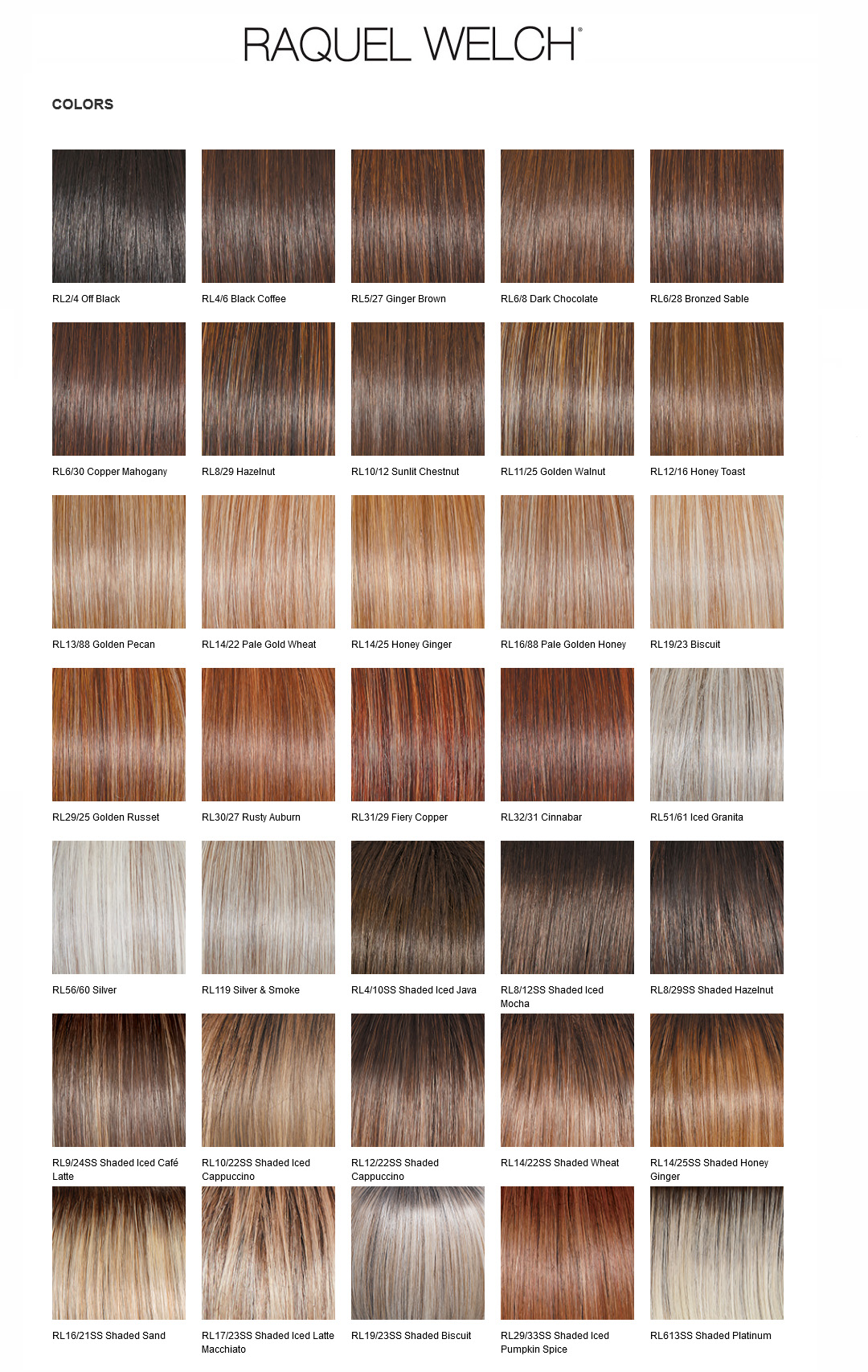 RACQUEL WELCH SYNTHETIC HAIR WIG COLOR CHART