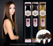 Hair Couture Keratin Flat UTip Euro Silky Straight Textured Preglued Hair GRD5+ - (Deluxe Pkg. - 100 pcs) - Human Hair Preglued - Hair Couture - INTENDED FOR PROFESSIONAL USE