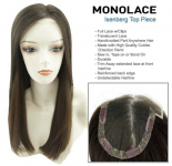 Mono Lace Toppiece Natural Straight - 100% Human Hair - Full Lace Top Piece with Clips -  PROFESSIONAL SPECIALTY PRODUCT
