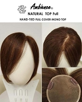 Ambience Natural Top Medium - 100% Human Hair Toppiece - Handtied Multi Part - Professional Toppiece Unit - Hair Couture