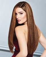 Glamour And More - French Drawn Lace Front Monofilament Top Hand-Knotted Wig - 100% Remy Human Hair - Raquel Welch - Speciality