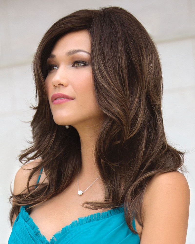 JANELLE PM 1692 PARTIAL MONOFILAMENT TOP  WIG -  COLOR SHOWN: MARBLE BROWN-LR - NORIKO COLLECTION