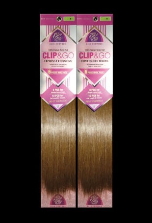 Clip N Go - Indo Remi Euro Texture Silky Straight Clip ON - 100% Human Hair - GRD4+ - Dual Pack - (12 pcs) Clip On Extensions - Hair Couture - SPECIALTY HAIR PRODUCT