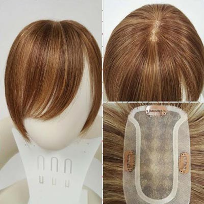 "Ambience Natural Top Small Base Monofilament Toppiece Length: 10"" - 100% Human Hair Toppiece - Handtied Multi Part - Professional Toppiece Unit - Hair Couture"
