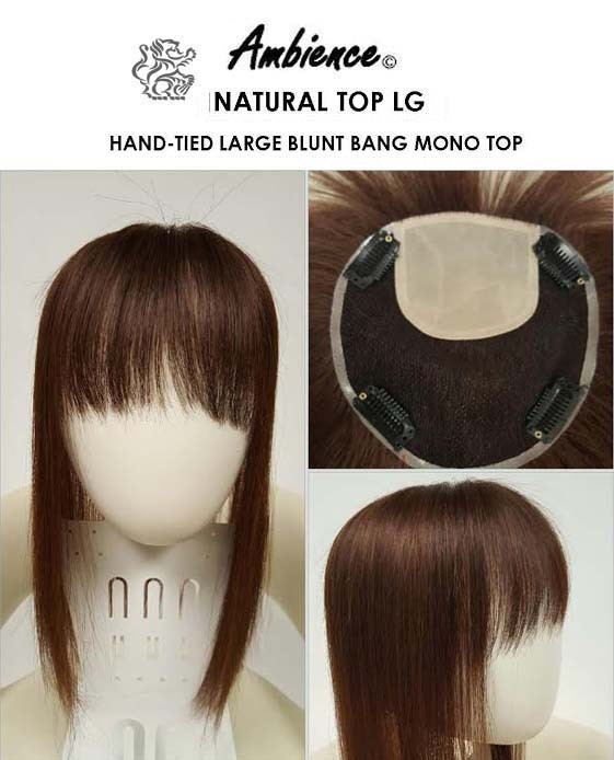 AMBIENCE NATURAL TOP LARGE BLUNT CUT BANGS MONOFILAMENT TOPPIECE